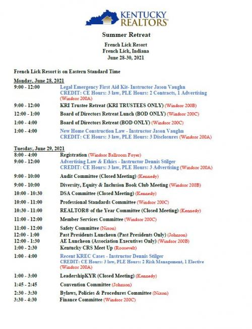 Page 1 of Retreat Schedule